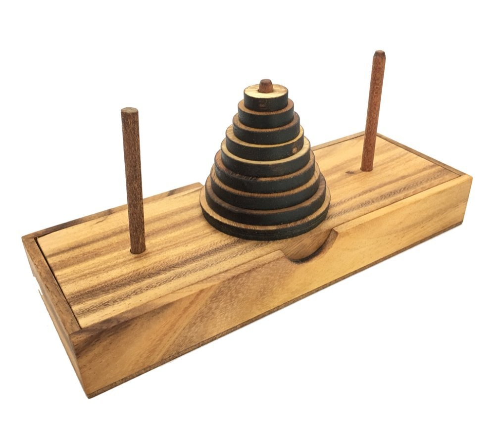 Handmade Tower of Hanoi Wooden Puzzle Game- Handmade Wooden Puzzles for Adults. RA Ama001