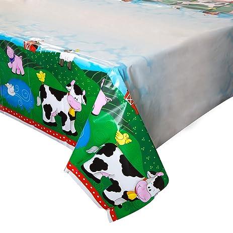 Farm Party Plastic Tablecloth, 84u0026quot; X 54u0026quot;