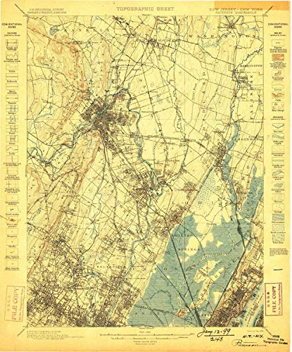 YellowMaps Paterson NJ topo map, 1:62500 Scale, 15 X 15 Minute, Historical, 1898, Updated 1898, 19.7 x 16.4 in - Paper]()