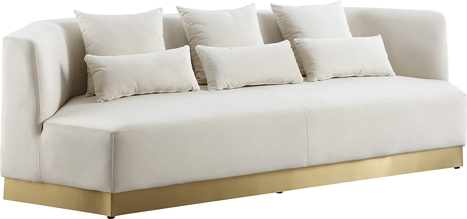 Meridian Furniture Marquis Collection Modern | Contemporary Velvet Upholstered Sofa with Stainless Steel Base in a Rich Gold Finish, 93