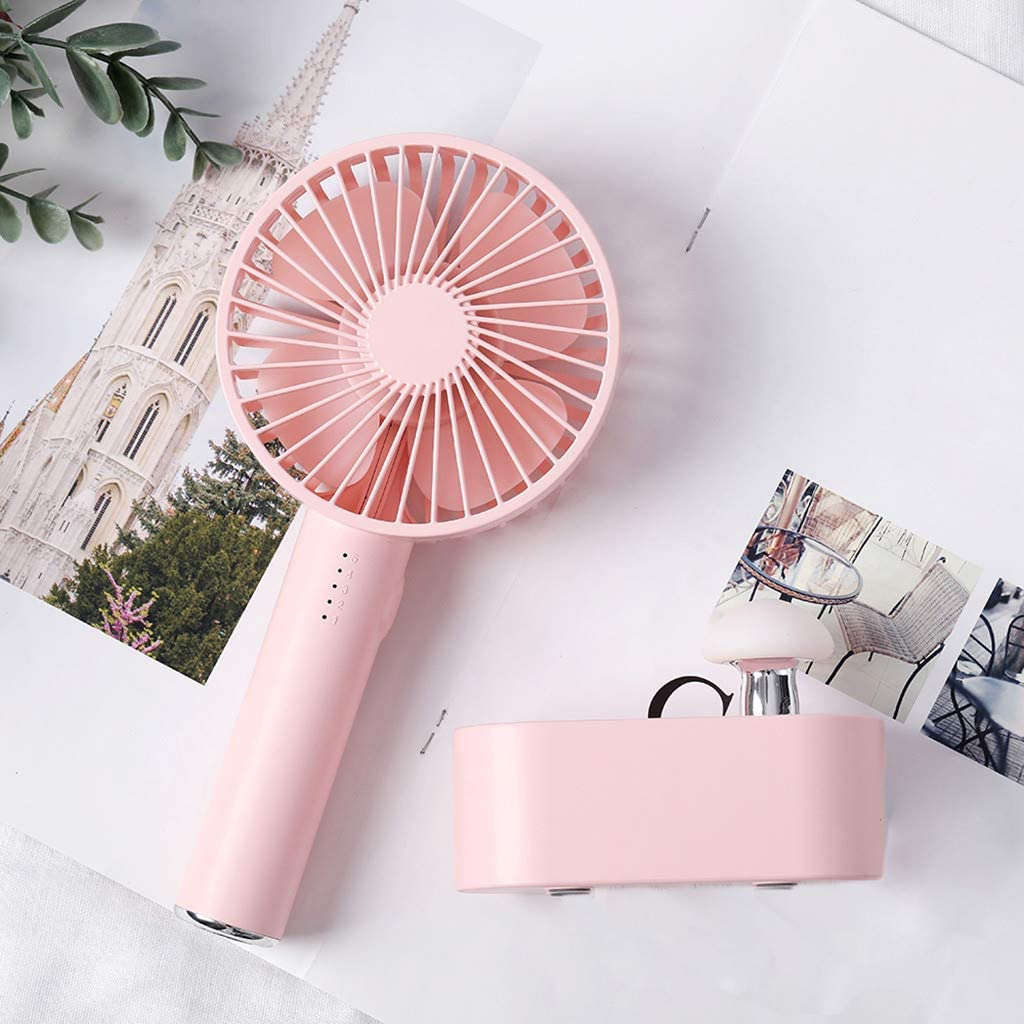 ResidentD Summer Powerful Wind with 5 Speed Rechargeable Portable USB Handheld Mini Fan with Mushroom Light 2000mah Battery Navy