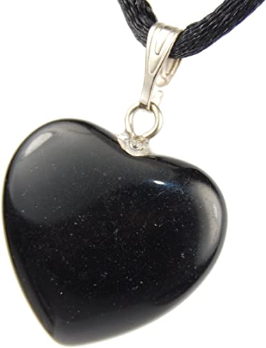Crystal Gemstone Carved Necklace Charm Handmade 20-22 inch Black Cord 20mm Classic Obsidian Black Steampunkers USA Big Heart Collection