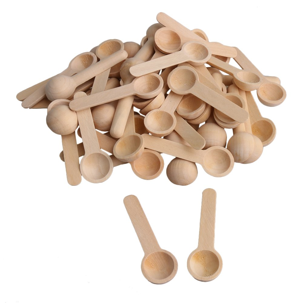BQLZR 7.5x2.4x1.3cm Small Round Wooden Kitchen Spoons for Salt Seasoning Honey Coffee Spoon Pack of 50 M4180417021
