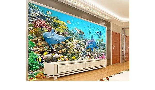 Huytong 3D Papel Pintado Sala De Estar Dormitorio Pegatinas De Pared Mural Pinturas De Fondo De Delfines Del Océano 400Cmx300Cm|157.48(In) X118.11(In): ...