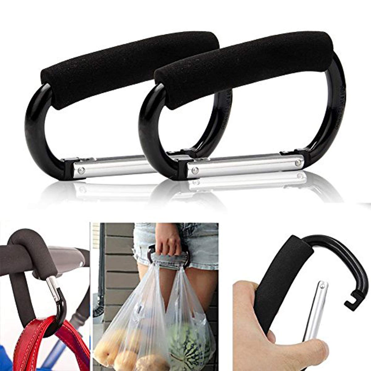 Great Organizer Accessory for Mommy When Jogging Walking or Shopping TECHSON 2x Stroller Hooks Multi Purpose Hanger for Baby Diaper Bags Black