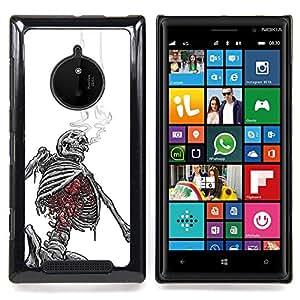 Ihec Tech Cráneo Esqueleto Blanco Negro de Humo / Funda Case back Cover guard / for Nokia Lumia 830