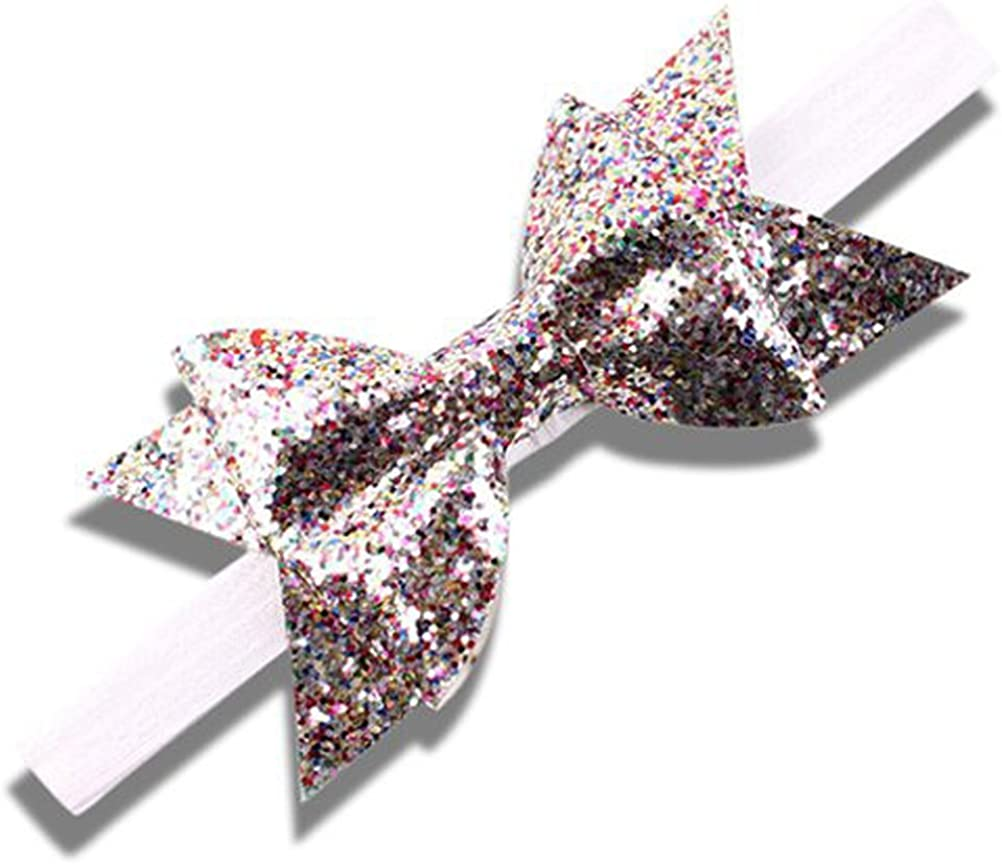 Baby Girls Double Bow Glitter Headband Handmade Occasion Soft Elasitic