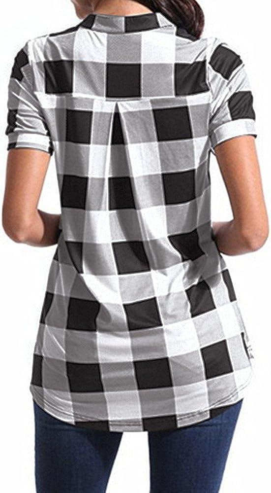 Meikosks Womens Plaid Printed T-Shirt Short Sleeve V-Neck Tops Irregular Hem Plus Size Blouses