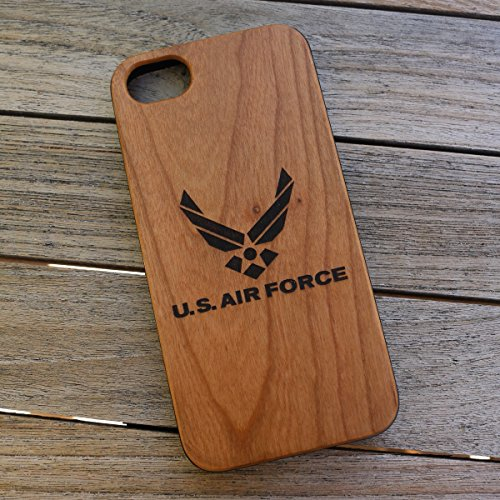 (CHX) The United States Air Force Logo Custom Engraved On A Cherry Wood Phone Case With Flexible TPU Sides For IPhone X ()