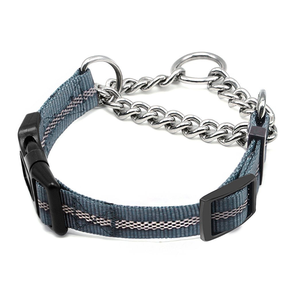 Wellbro Martingale Collars for Dogs, Dog Training Collar, Reflective Pet Limited-Cinch Collar, with Quick-Release Buckle(12''-14.5'' X 0.8'', Grey)