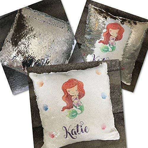 Personalised mermaid sequin cushion
