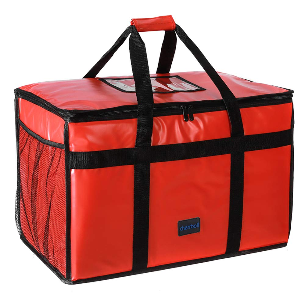 "cherrboll Insulated Food Delivery Bag -23""x14""x15"", Premium Large Commercial Catering Bag for Food Transport, Thermal Food Carrier with Side Pockets, Extra Strength Zipper & Thick Insulation, Red"