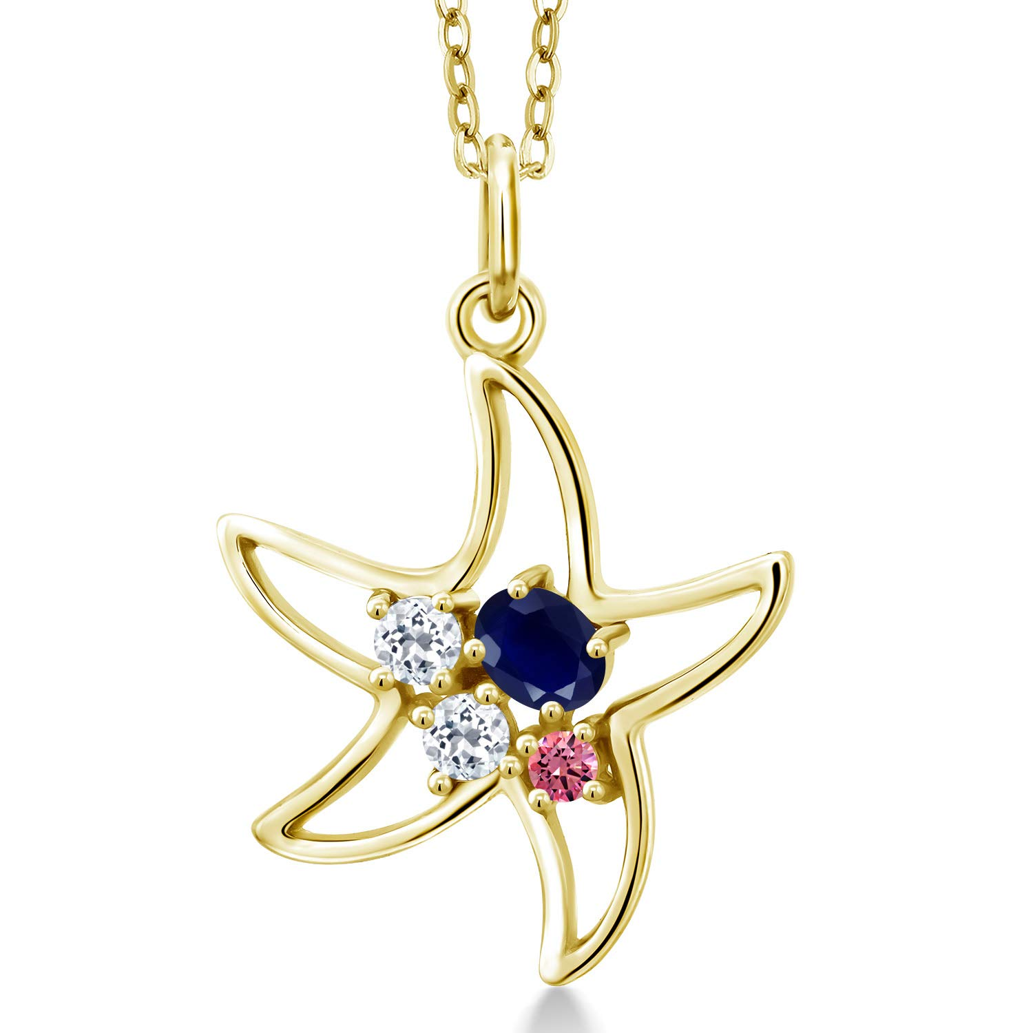 Gem Stone King 0.42 Ct Oval Blue Sapphire White Topaz 18K Yellow Gold Plated Silver Starfish Necklace