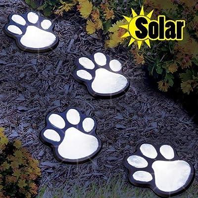 Solar Led Decorative Paw Print Garden Lighting - Set Of 4