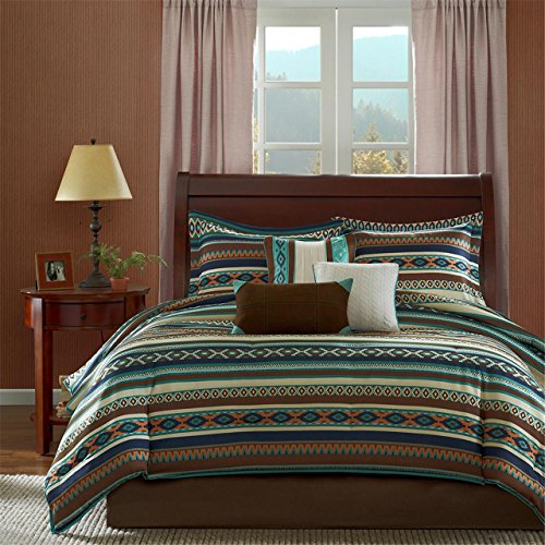 Madison Park Malone Queen Size Bed Comforter Set Bed in A Bag - Blue, Brown, Southwestern Pattern, Fair Isle - 7 Pieces Bedding Sets - Micro Herringbone Fabric Bedroom Comforters ()