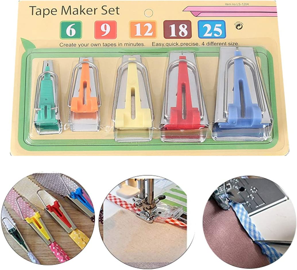 Single//Double Fold Bias Tape Maker Tool Kit Set,6MM//9MM//12MM//18MM//25MM Fabric Bias Tape Maker Tools 5 Sizes DIY Sewing Bias Tape Makers for Quilt Binding