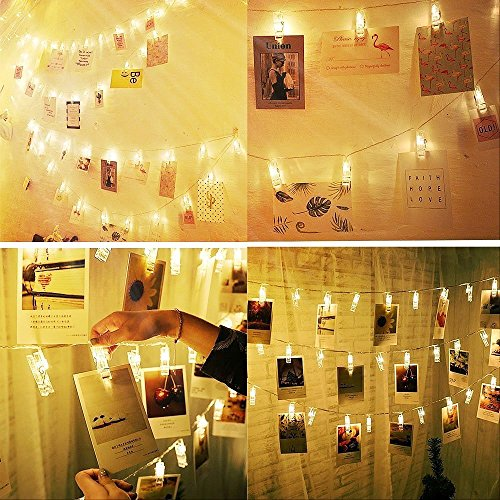Alyattes Photo Clips String Lights Christmas Lights Starry Light Wall Decoration Light for Hanging Photos Paintings Pictures Card and Memos, Battery Powered (40 LED Warm White) by Alyattes (Image #3)