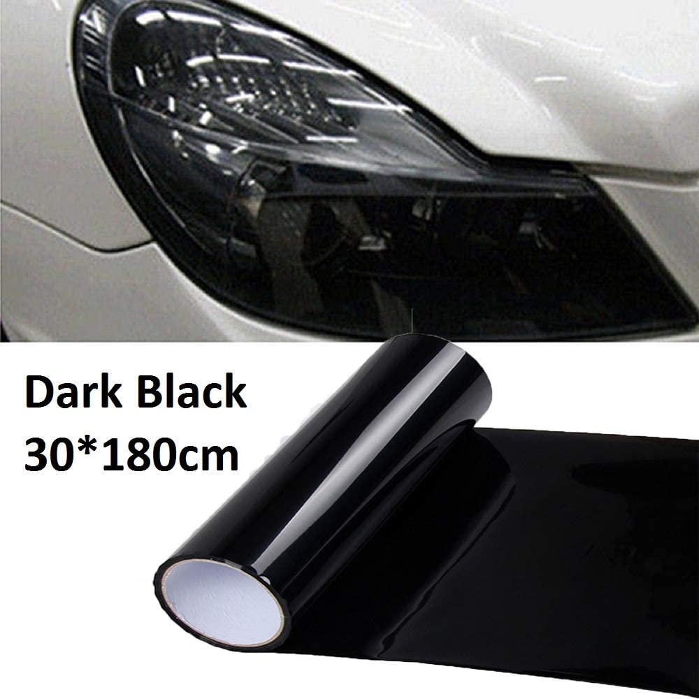 SUNWAN Cars Headlight Rear Lights Tail Light Fog Lamp 30x180cm Tint Vinyl Films Cover Protective Window Tinting Film Dark Black Car Light Film