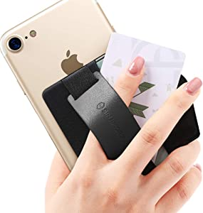 Sinjimoru Phone Grip Card Holder with Phone Stand, Secure Stick on Wallet for iPhone with Leather Pop Out Stand for Table. Sinji Pouch B-Grip Black