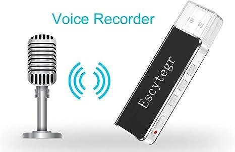 Escytegr Mini Voice Recorder Digital Sound Audio Recorder 8GB USB Flash Driver MP3 Player Dictaphone with Earphone,No Flashing Light When ...