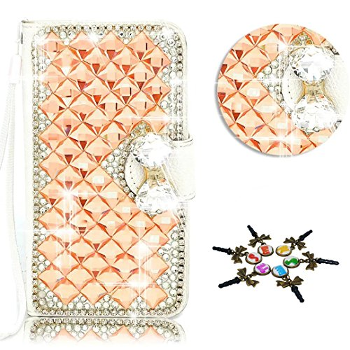 STENES LG K7 / LG Tribute 5 Case - 3D Handmade Crystal Bows Rhombic Diamond Sparkle Wallet Credit Card Slots Fold Media Stand Leather Cover With Retro Dust Plug - Champagne