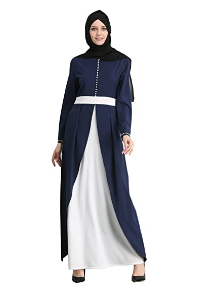 GladThink Mujer Musulmán Lujoso Vestido Largo Mangas Oficina Dama ...