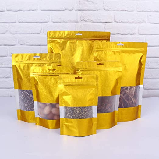 Gold Aluminum Foil Stand Up Bags Zip Lock Mylar Pouches With Window Food Grade