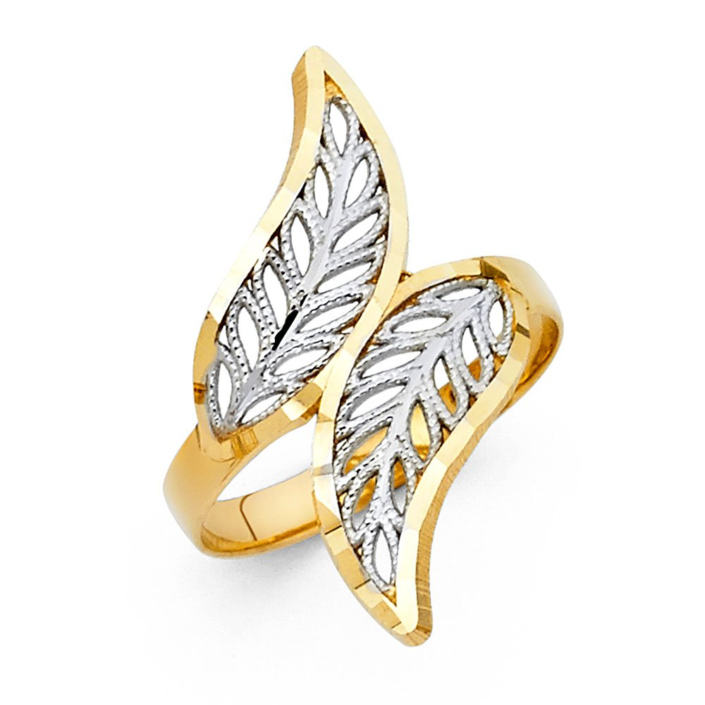 Ioka - 14K Two Tone Solid Gold Fancy Leaves Ring - Size 9