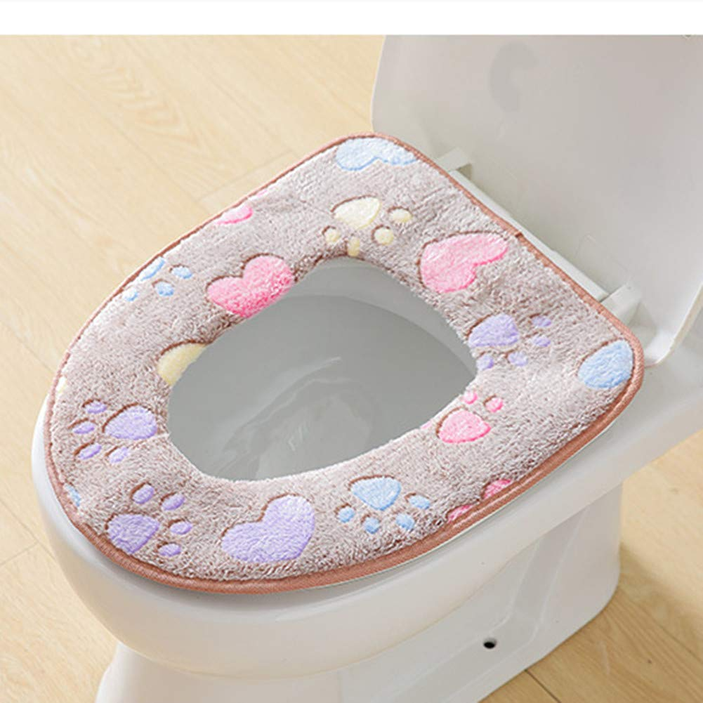 KFYOUXIN Padded Lid Toilet Covers Washable Waterproof Soft Warmer Winter Bathroom Accessories Suede Comfortable Anti Slip Sticker Coral Fleece Toilet