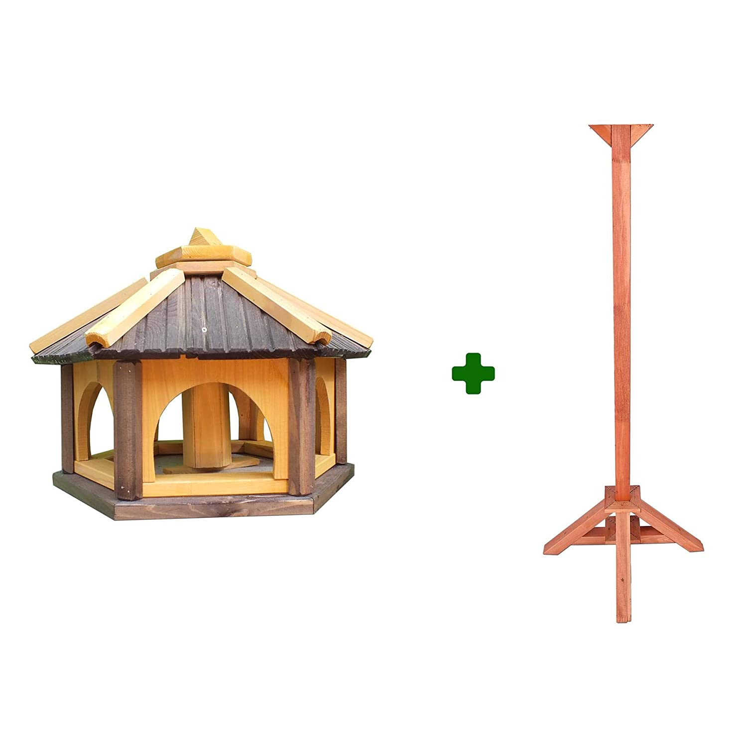 Roof 52x52 cm BRAN-50 TEAK Wooden Bird Table Feeder with Roof Nest Box Base 43x43 cm Traditional Freestanding Garden Birdhouse Feeding Station Without Stand