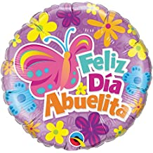 "Qualatex Foil Balloon 42595 Abuelita Butterfly and Flowers, 18"", Multicolored"