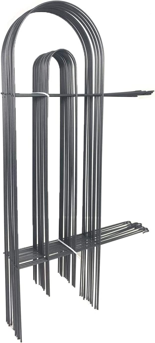 AshmanOnline Movable Border Garden Fence 32in x 20ft - Outdoor Rustproof Metal Landscape Fencing Wrought Iron Wire Gate Border Edge Folding Patio Animal Barrier Section Edging Black (Set of 14)