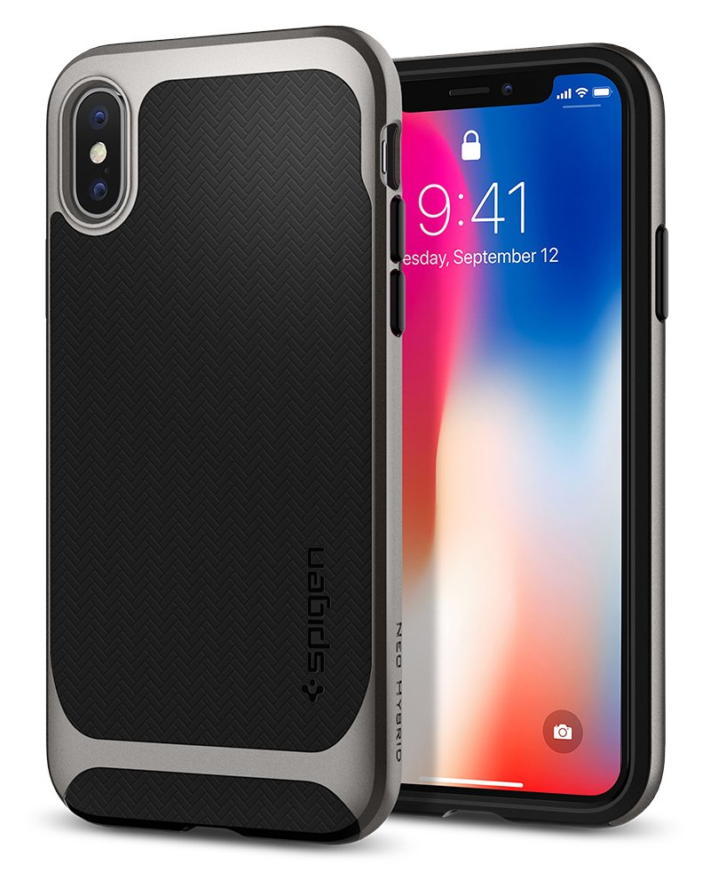 Spigen Neo Hybrid iPhone X Case Herringbone with Flexible Inner Protection and Reinforced Hard Bumper Frame for Apple iPhone X (2017) - Black & Gunmetal