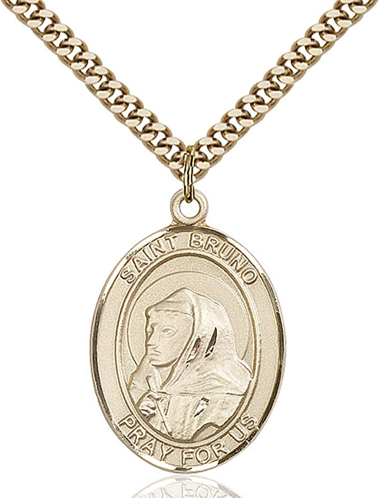 14kt Gold Filled St Bruno Pendant Gold Plate Heavy Curb Chain Patron Saint Possessed People 1 x 3//4