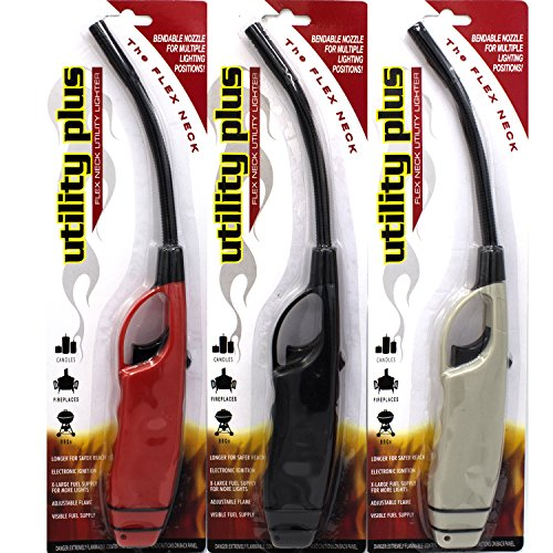 Elite Brands USA Long BBQ Lighters, Long Flexible Neck, Multi-Purpose use for Barbeque Grill Fireplace Gas Stove Cooking, Flex Wand Fire Lighters, Value Pack of 3