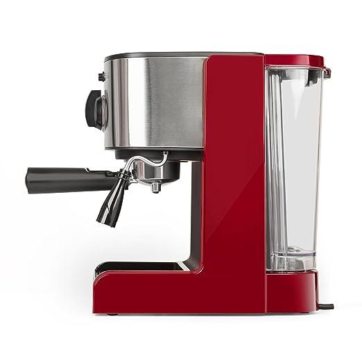 Klarstein Passionata Rossa 15 • Máquina de espresso • Cafetera automática • Espumadora • 1470W • 1,25L de capacidad (6 Tazas) • Descarga de presión ...