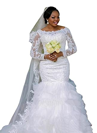 913730db Doragrace Women's Mermaid Applique Long Sleeve Lace Bridal Dresses Plus Size