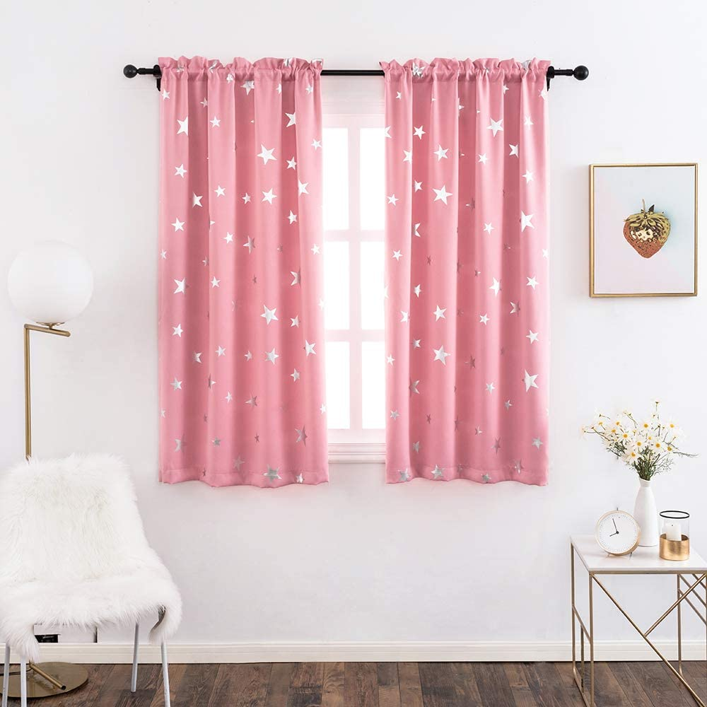 Anjee Kids Curtains for Girls Bedroom Foil Print Star Curtains for Room Darkening Nursery Blackout Curtains Window Drapes W38 x L54 inches 2 Panels Baby Pink