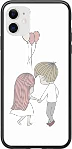 Okteq Case for iPhone 11 Case Shock Absorbing PC TPU Full Body Drop Protection Cover matte printed - girl and boy holding hands By Okteq