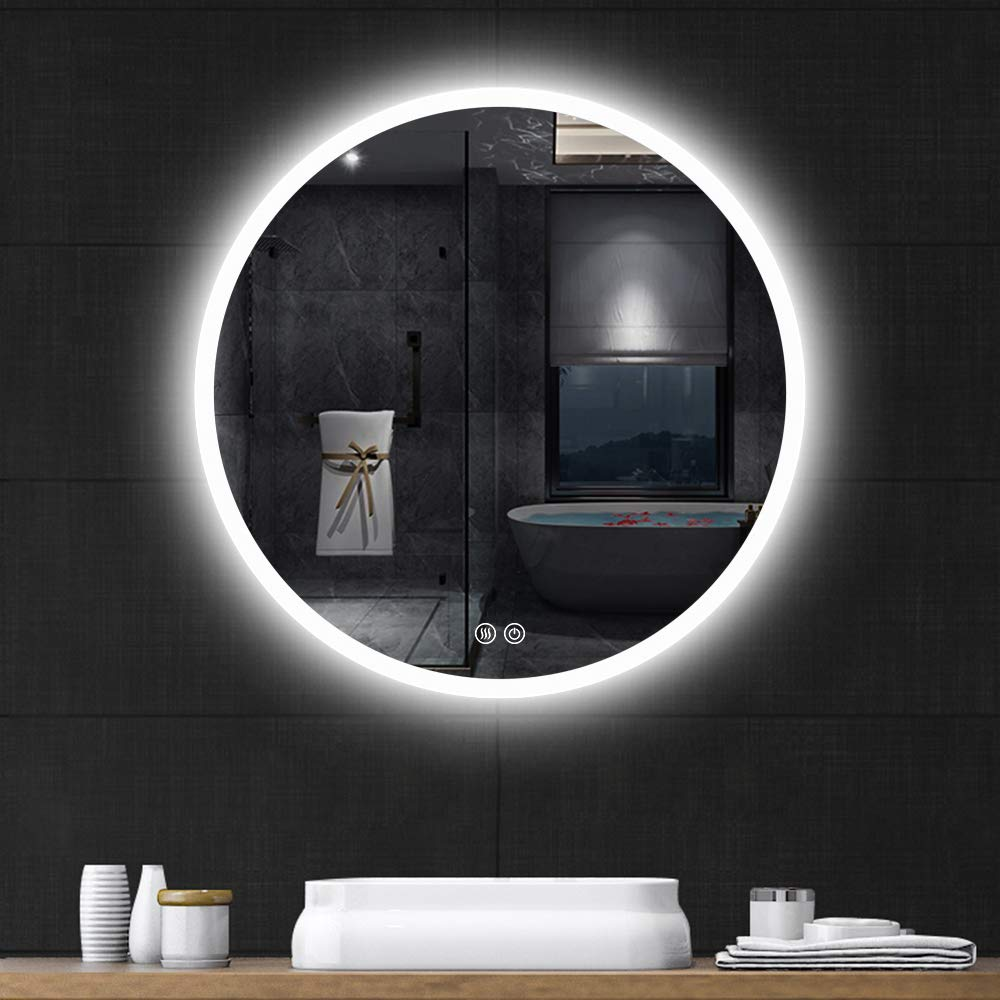 Leafmirror LED Lighted Round Mirror Bathroom Anti-Fog Wall Mounted Mirror Touch Button Changing Lights(Warm Yellow Light/White Light/Warm Light) (32 in Round) by Leafmirror