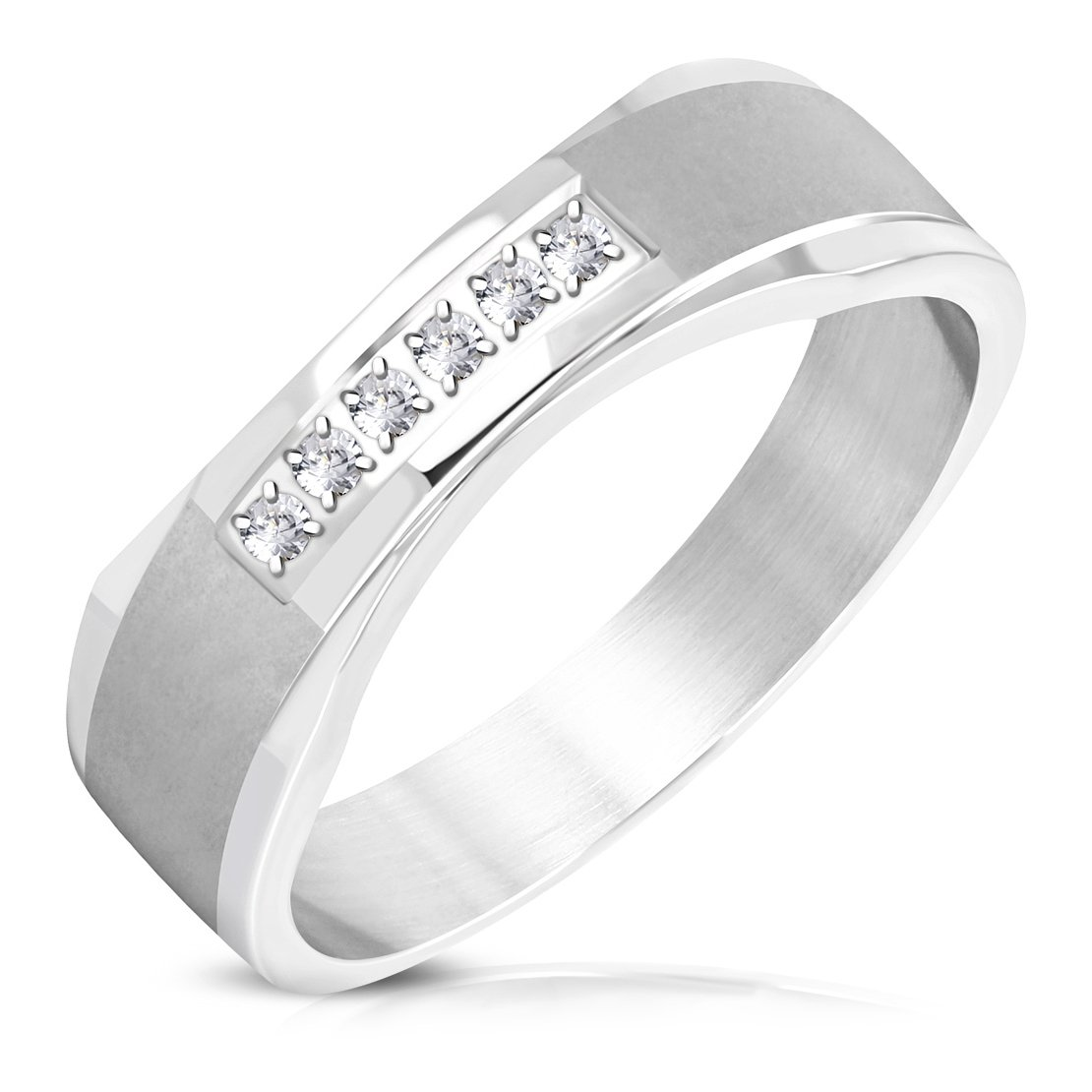 Stainless Steel Pave-Set Flat Band Ring with Clear CZ