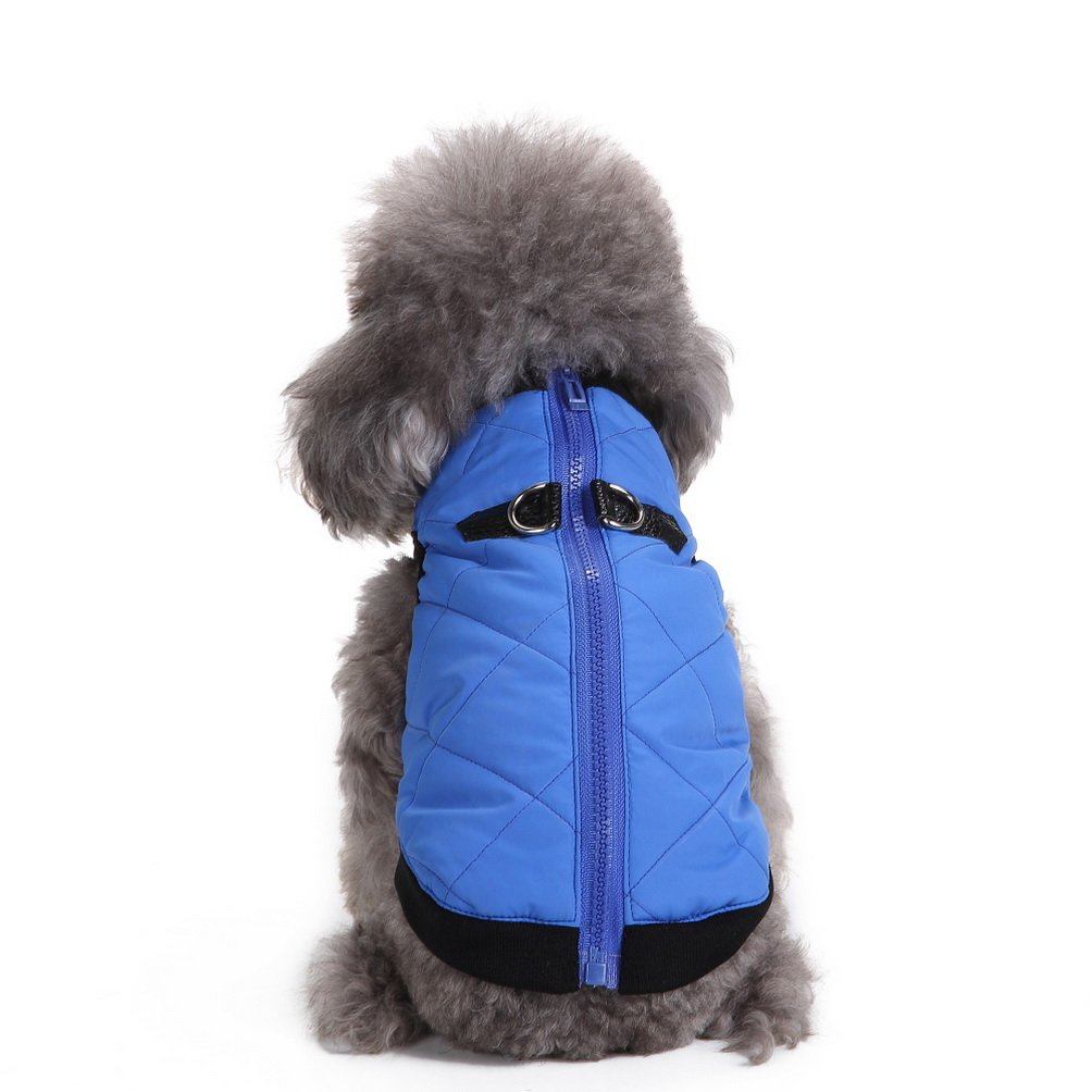 SELMAI Warm Soft Cold Weather Small Dog Cat Vest Harness Clothes with Zipper Pet Puppy Coat Jacket Puffer Apparel Blue M