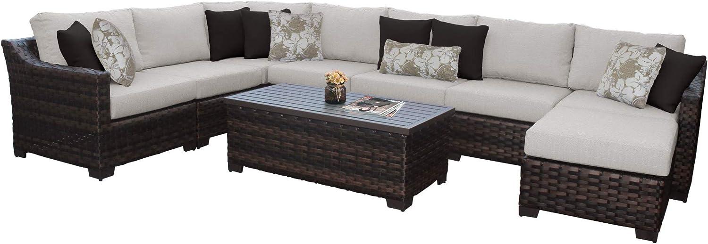 Tk Classics Kathy Ireland River Brook 9 Piece Outdoor Wicker Patio Furniture Set 09d In Ash Garden Outdoor