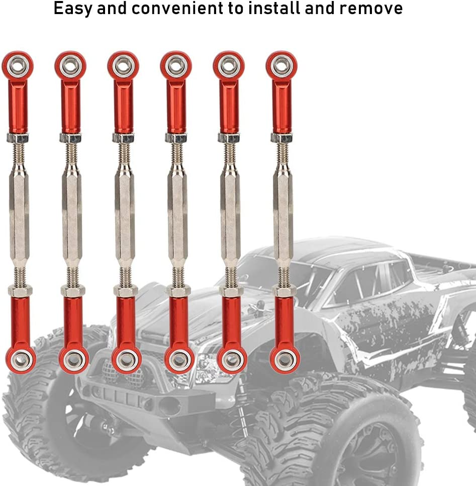 Red 6PCS 88mm Aluminum Alloy Adjustable Push RodsTurnbuckle Rod Linkage Accessories for RC Car Models Woyisisi RC Pull Rod