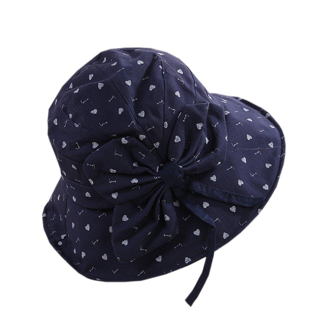 YueLian Womens Printed Bowknot Summer Outdoor Activities Bucket Hats