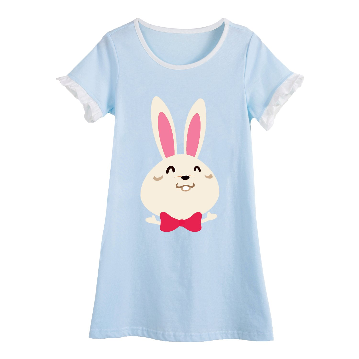 Allmeingeld Girls' Bunny Nightgowns Rabbit Sleep Shirts Lace Sleepwear for 3-10 Years