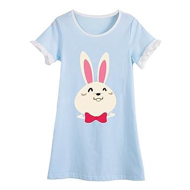official photos 7fc4a 869d9 Allmeingeld Hase Nachthemden für Mädchen Kinder Kurzarm Sommer Schlafanzüge  Baumwolle Rundkragen für 3-10 Jahre