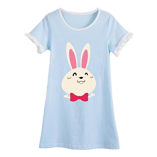 5777895008 Baby Girls  Rabbit Nightgowns Bunny Sleep Shirts Animal Loungewear Blue 3