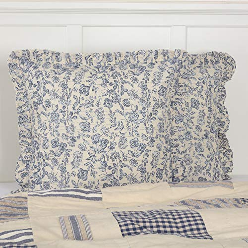 stown Blue Floral Ruffled Euro Sham, 26