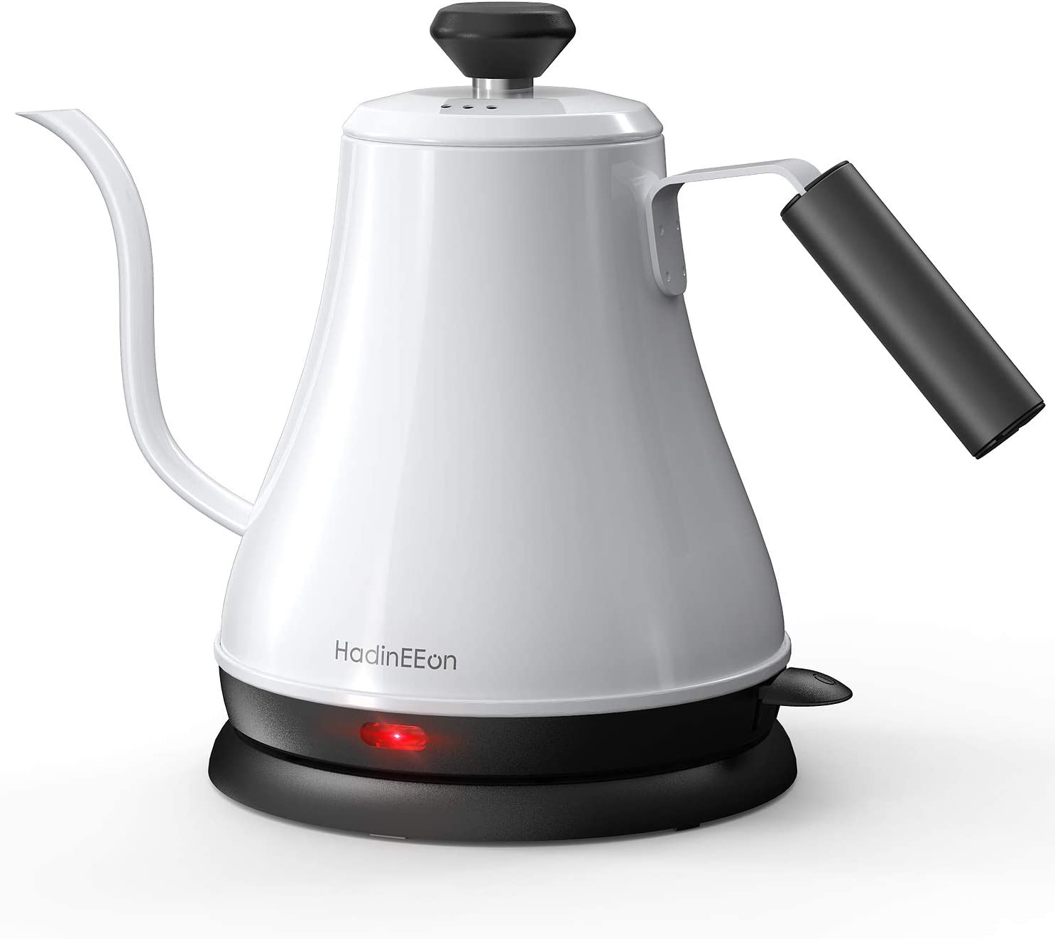 HadinEEon Electric Gooseneck Kettle 100% Stainless Steel BPA-Free Tea Kettle, Electric Pour Over Coffee Kettle Pot Portable Cordless Teapot with Auto Shut-Off Protection, 1000 Watt, 0.8L- Glossy White: Kitchen & Dining